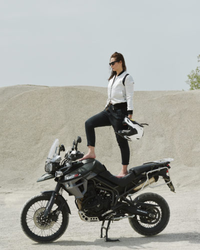 A woman touring the world on her motorbike